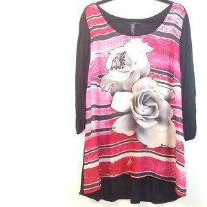 1X Style & Co Striped Flower Tunic